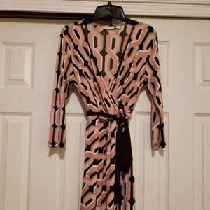 Tan & black Wrap dress size Small